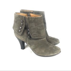 Sofft suede heeled ankle bootie fold over Taupe